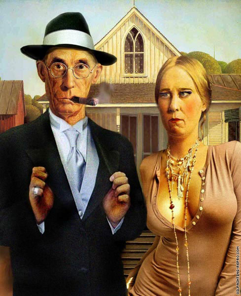 American Gothic - Evening dress required (After Wood)