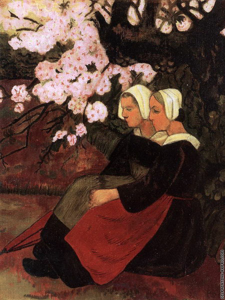 Two Breton Women under a Flowering Apple Tree (Serusier)