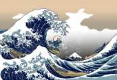 Smurfs The Great Wave off Kanagawa (after Hokusai)