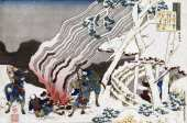 Hunters by a Fire in The Snow (Hokusai)