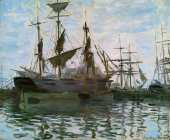 Ships in Harbor (Monet)