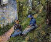 Seated peasants sewing (Pissarro)