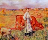 Shepherdess - Cow and Ewe (Renoir)